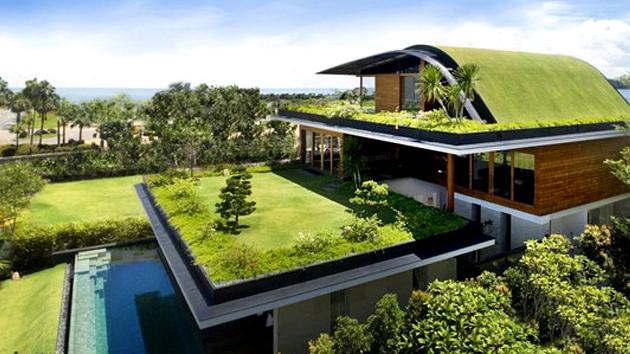 Casa com telhado verde.