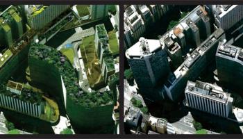 Simulação da cidade de São Paulo com telhado verde.